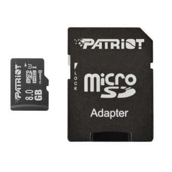کارت حافظه microSDHC پتریوت مدل LX کلاس۱۰ استاندارد UHS-I U1 سرعت ۴۸MBps ظرفیت ۸ گیگابایت به همراه آداپتور SD