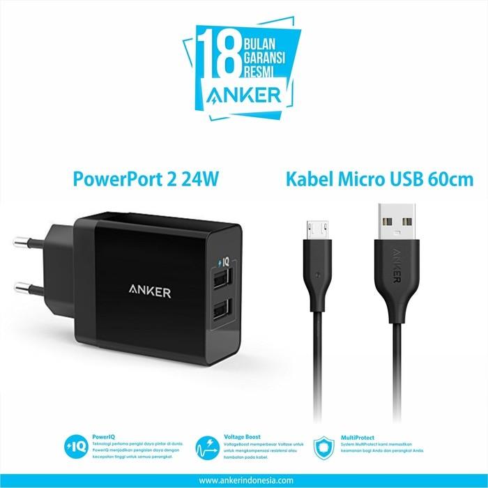 شارژر دو پورت PowerPort 2 انکر بههمراه کابل ۰.۹ متری micro USB مدل – B2021