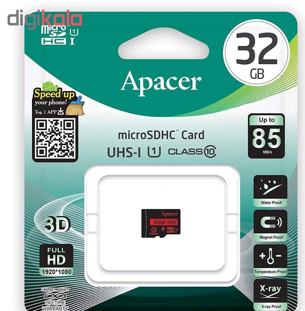 کارت حافظه microSDHC اپیسر مدل AP32G کلاس ۱۰ استاندارد UHS-I U1 سرعت ۸۵MB ظرفیت ۳۲ گیگابایت