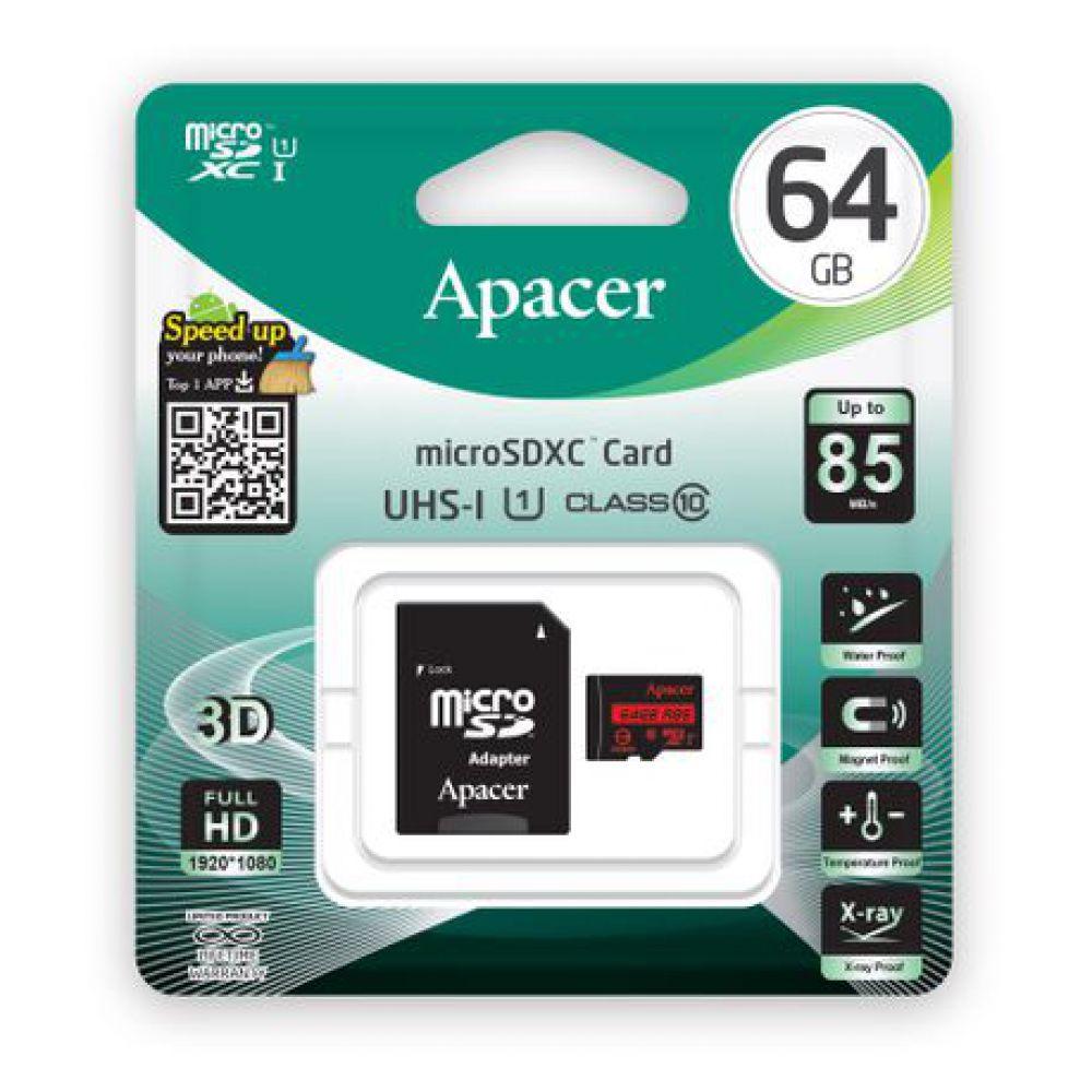 کارت حافظه microSDHC اپیسر کلاس ۱۰ استاندارد UHS-I U1 سرعت ۸۵MB همراه با آداپتور SD ظرفیت ۶۴ گیگابایت