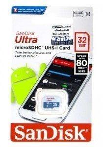 کارت حافظه microSDHC سن دیسک Ultra کلاس ۱۰ استاندارد UHS-I U1 سرعت ۸۰MBps ظرفیت ۳۲ گیگابایت به همراه آداپتور SD