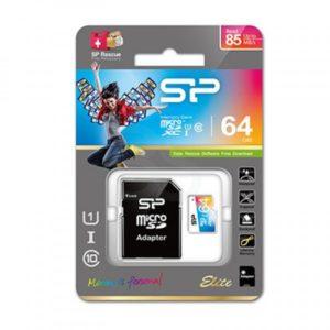 کارت حافظه microSDHC سلیکون پاور مدل Color EIite کلاس ۱۰ استاندارد UHS-I U1 سرعت ۸۵MB همراه با آداپتور SD ظرفیت ۶۴ گیگابایت