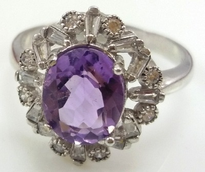 انگشتر نقره زنانه نگین آمیتیس مدل گل